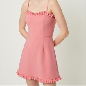 French Connection Whisper Ruth Pink Frill Dress